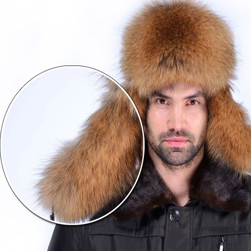 adbdf50e186d67 Star Fur 2018 Genuine Silver Fox Fur Hats Men Real Raccoon Fur Lei Feng Cap  for Russian Men Bomber Hats with Leather Tops-in Bomber Hats from Apparel  ...