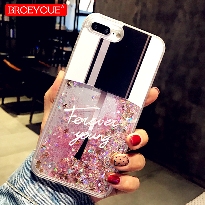 Liquid Glitter Case For iPhone SE 5 5S 7 8 6 6s Plus Cases For iPhone X 8 7 Plus Case Cat Perfume Bottle Quicksand Dynamic Cover for iphone 7 plus floating glitter sequins tpu cell phone shell casing smile