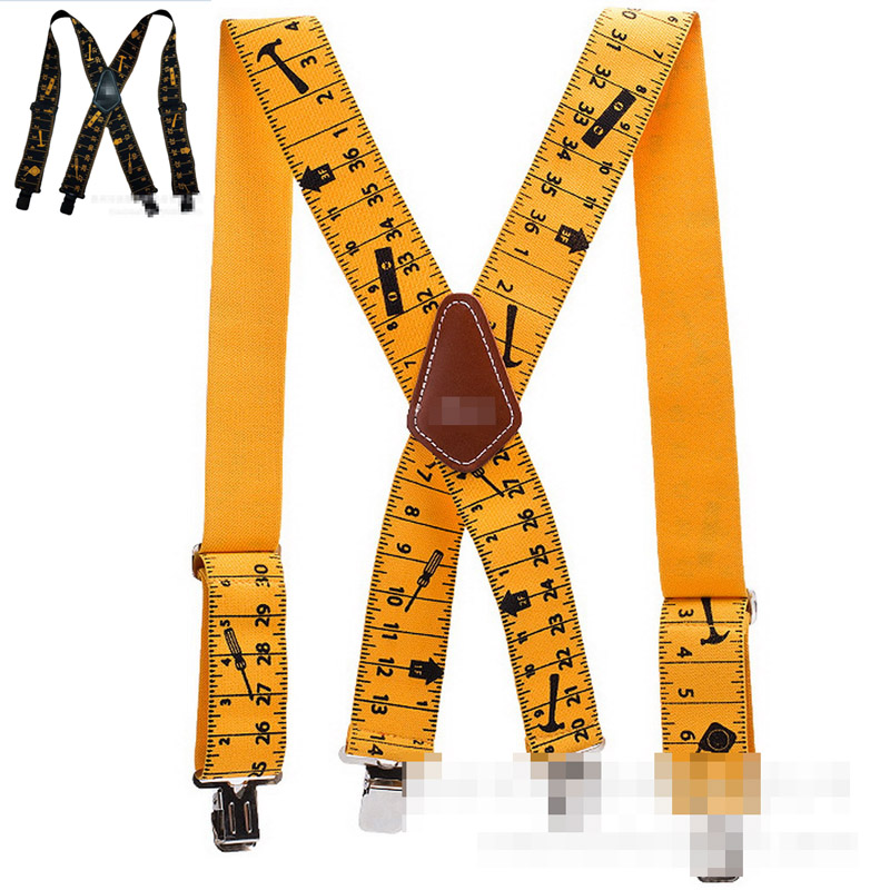 2019 Ruler Design Men Suspenders Classic X Shaped 4 Clips Tool Belt Suspenders Men Trousers 2019 New Men's Suspenders Adjustable(China)