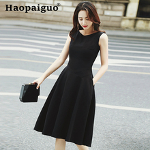 Plus Size Sleeveless Big Swing Causal Elegant Dress Women Black OL Work Office Solid Korean Ropa Mujer