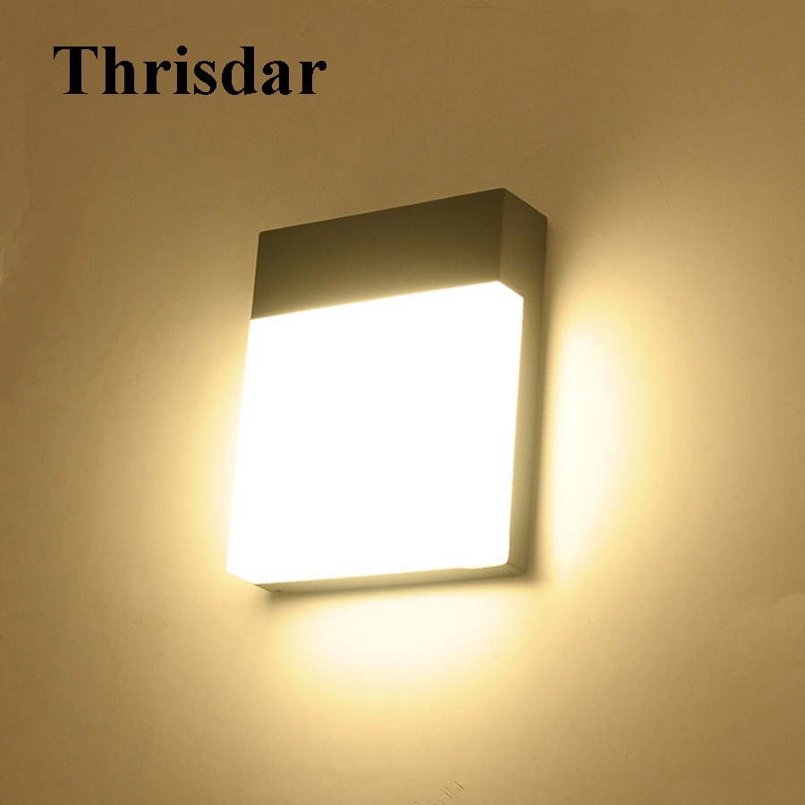 Thrisdar 18W Outdoor LED Wall Light Waterproof IP54 Garden Porch Wall Lamp Modern Villa Aisle Corridor Balcony Porch Wall Light thrisdar 20w ip65 waterproof wall lamps 40leds outdoor garden porch wall sconce lamp corridor garden hotel pathway porch light