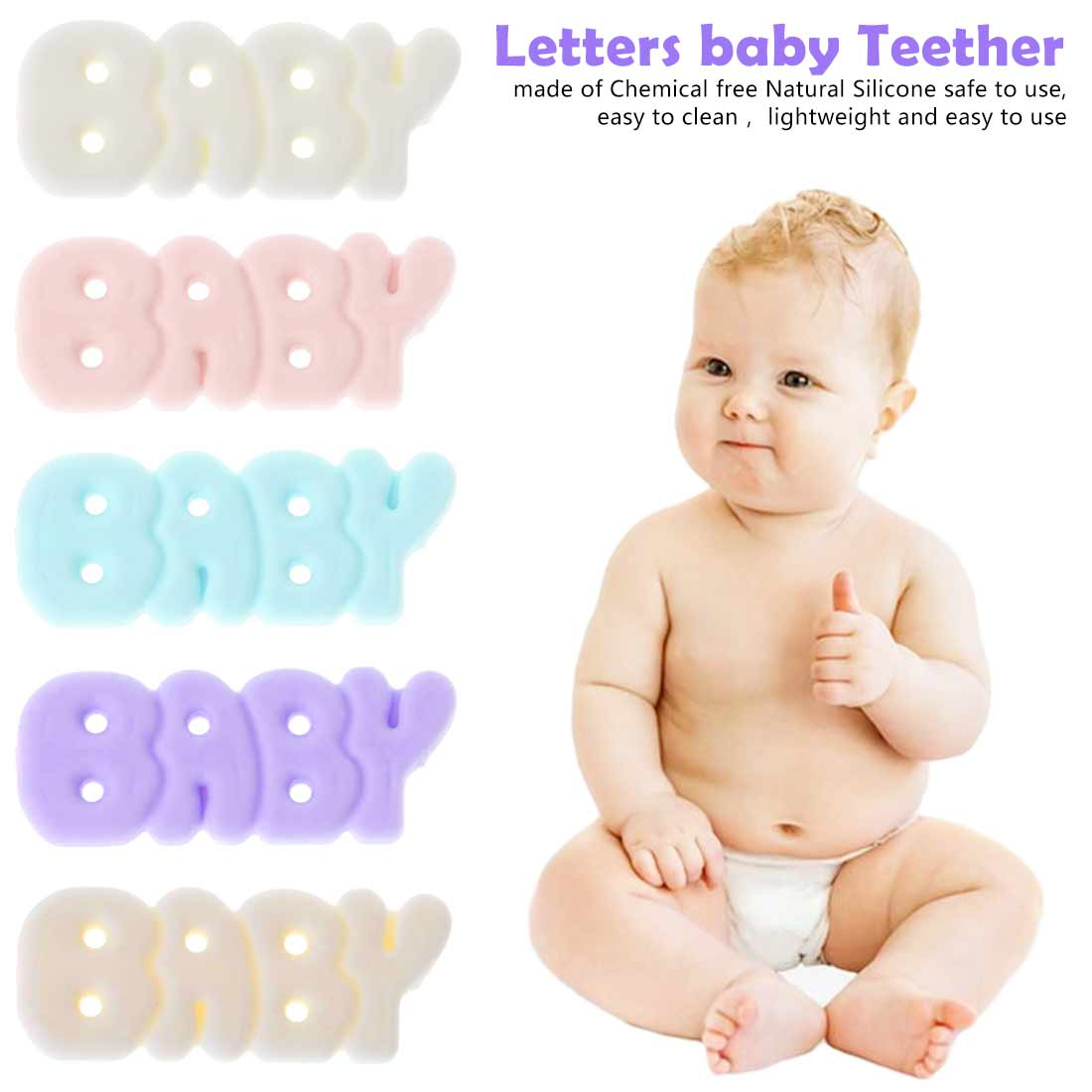 1PCS Free Silicone Letter BABY Teether Sensory Chewing Pacifier DIY Baby Necklace Pendant Teething Chewing Toys