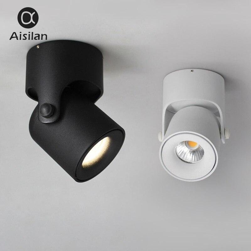 Aisilan led plafonnier Spot Light Spot Surface Monté COB éclairage de fond Réglable 180 Degrés Foyer ampoule