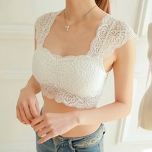 2016 Women Ladies Sexy Lace Padded Bra Crop Top Black White Vest  Sleep Leisure Bralette Intimates Padded Tank Top Caimsole Tops
