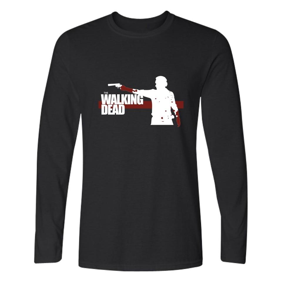 Black t shirt white collar - The Film Walking Dead Zombies Quality Long Sleeve T Shirt Men Punk Tshirts And Cotton T Shirt White In Black 3xl Tee Shirts Mens