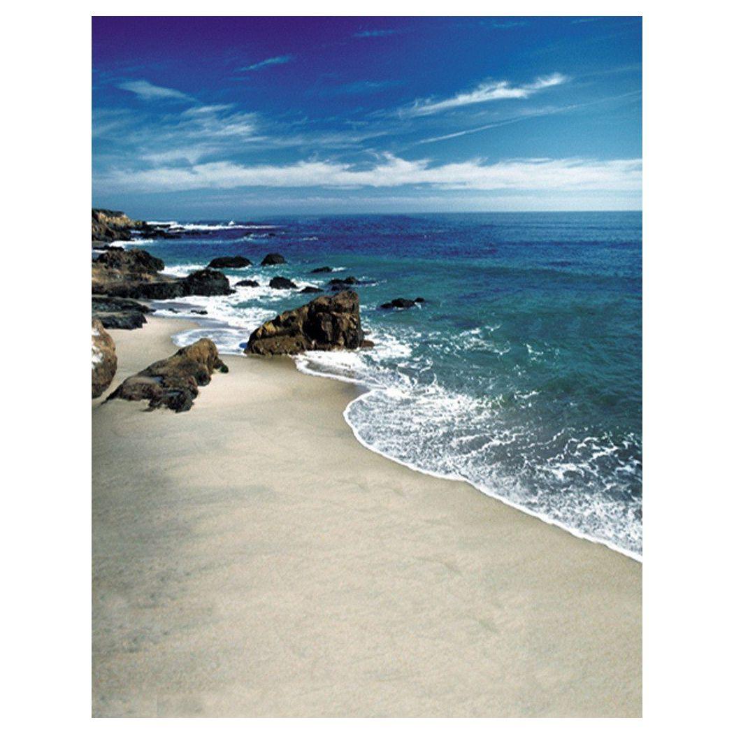 0.9x1.5m Computer Printed Fabric Vinyl Thin Photo Studio Props Photography Backdrops Blue Seaside Beach Sky Clouds Theme Islan