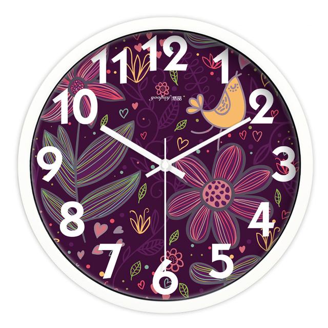 Purple Flowers Living Room Quiet Quartz Wall Clock Home Decoration Bedroom Fashion Creative Wall Clocks