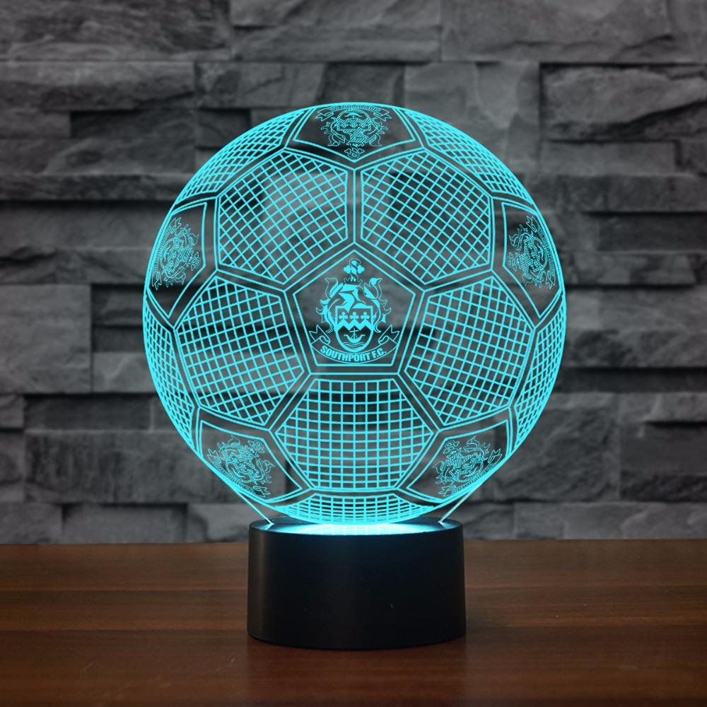 Creative Luminous 3D Football Modelling Decor Office Atmosphere Vision LED Desk Lamp 7 Colors Changing Baby Sleeping Night Light