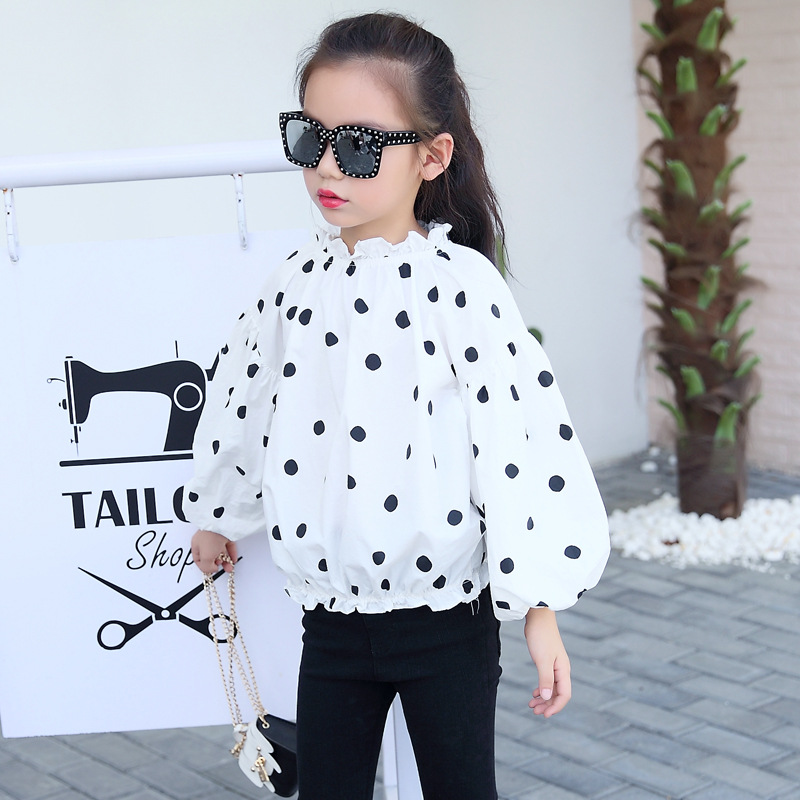 Children 39 s clothing 2019 autumn dot children 39 s T shirt cotton long sleeved shirt 3 12 years old baby girl clothes in Tees from Mother amp Kids