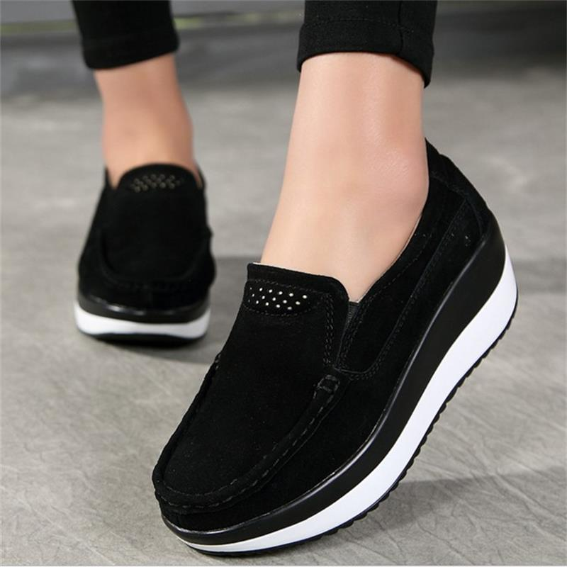 Women Flat Summer Loafers New Ladies Elegant Suede Leather Moccasins Shoes Female Slip On Casual Women Vulcanize Shoes YDT1478