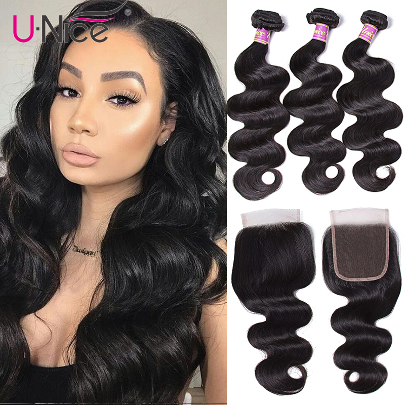 "Image 1 - Unice Hair With Closure 8 30"" Human Hair Bundles With Closure 4PCS Natural Color Peruvian Body Wave Bundles With Closure-in 3/4 Bundles with Closure from Hair Extensions & Wigs"
