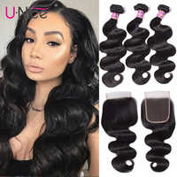 "Unice Hair With Closure 8-30"" Human Hair Bundles With Closure 4PCS Natural Color Peruvian Body Wave Bundles With Closure"