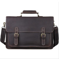 Briefcase Genuine Leather bag man Vintage Zipper Laptop iPad Phone Crossbody Shoulder Bag for Man Case Office Portfolio Handbag