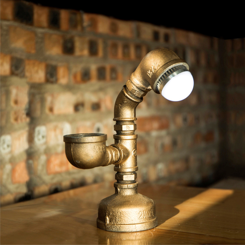SGROW Retro Light Table Lamp Loft Iron Pipe Lamp Decorative Desk Lamp for Coffee Bar Bedroom Beside Light Vintage Lamp Lamparas