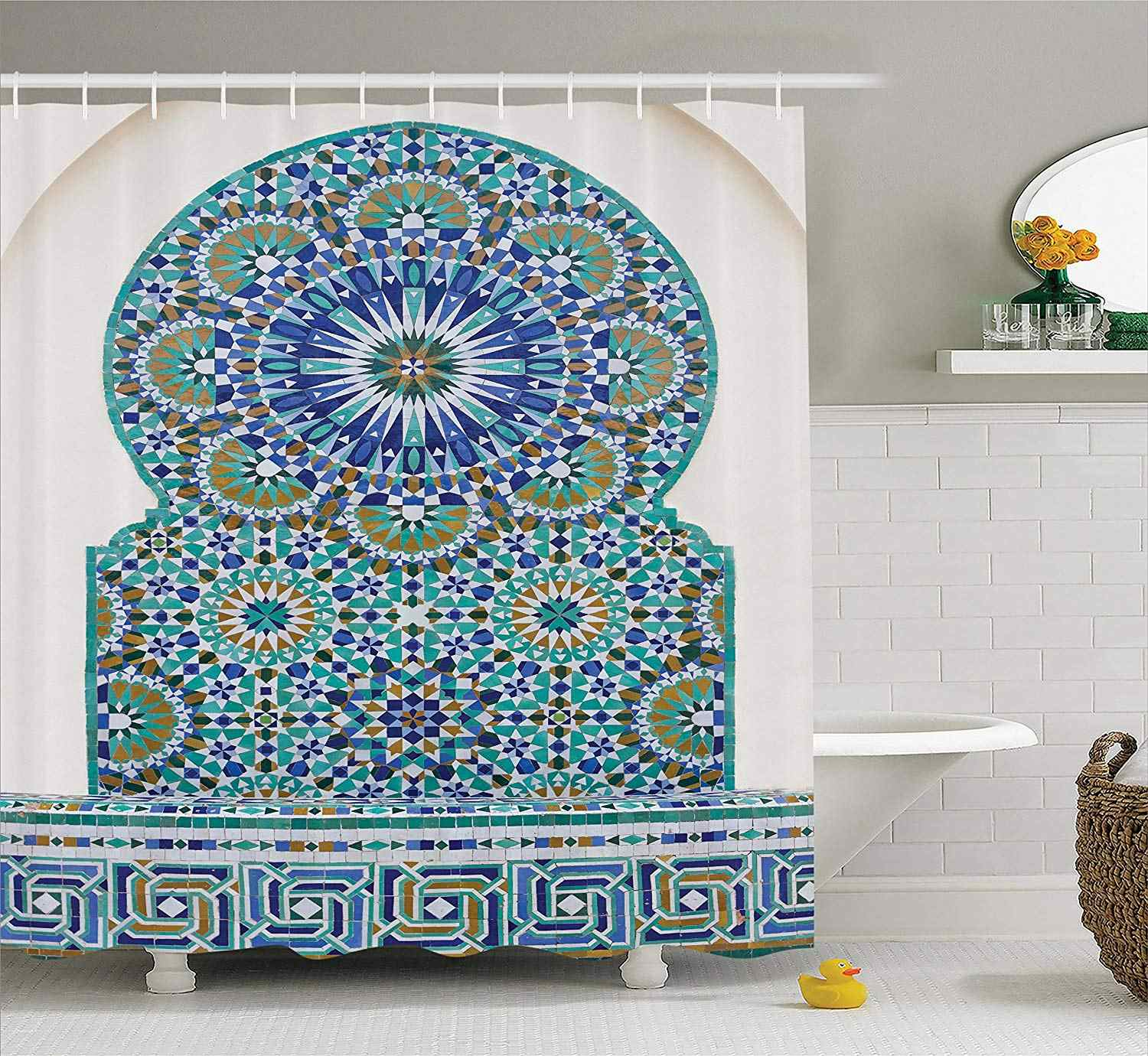 Moroccan Shower Curtain Ceramic Tile With Ancient East Pattern Decorative Tracery Heritage Architecture Bathroom Accessories