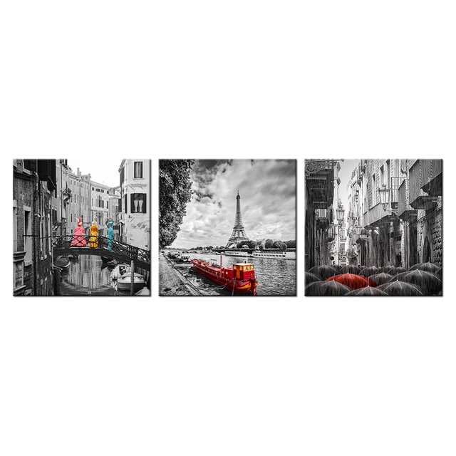 3 piece canvas wall art black and white painting european painting home decor pictures for