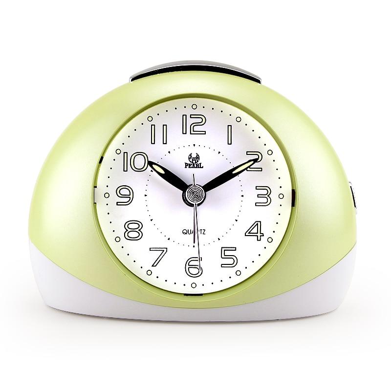 Nejnovější Pearl Pudgy Sweep Budík Super Mute Mini Stolní hodiny LumiNova Snooze Night Light PVC Clock Doprava zdarma Despertador