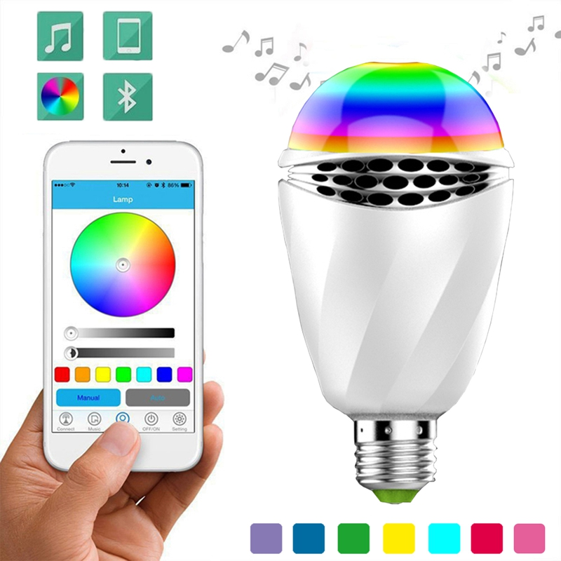6W RGB LED Bulb Bluetooth Smart Lighting Lamp Colorful Dimmable Speaker Lights Bulb remote Control by smart phone