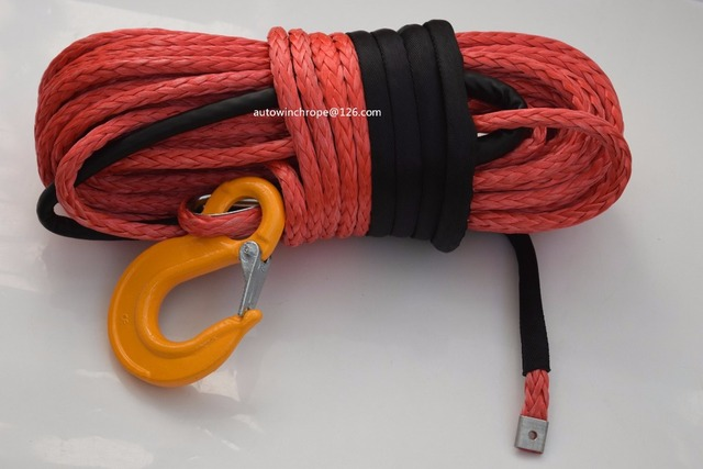 Red 14mm*45m Synthetic Rope,UHMWPE Winch Rope,ATV off road Racing RopeWinch Cable