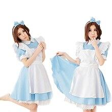 Mujeres cosplay maid dress + delantal + bowknot diadema de halloween fiesta de disfraces