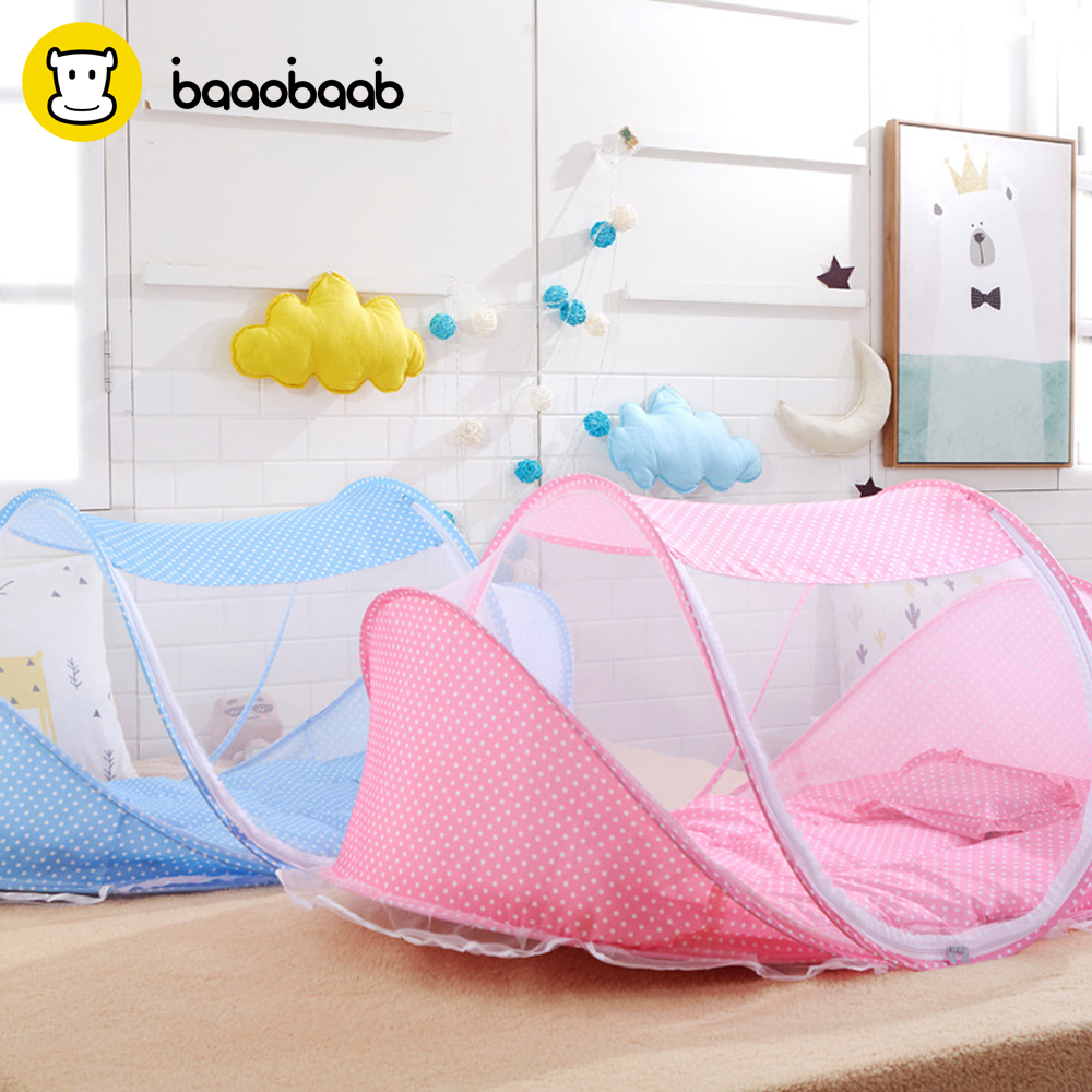 Baaobaab Wz04 3 Pcs Baby Crib With Pillow Newborn Mat Set Portable Folding Cradle With Netting Infant Bedding Sleep Travel Cots