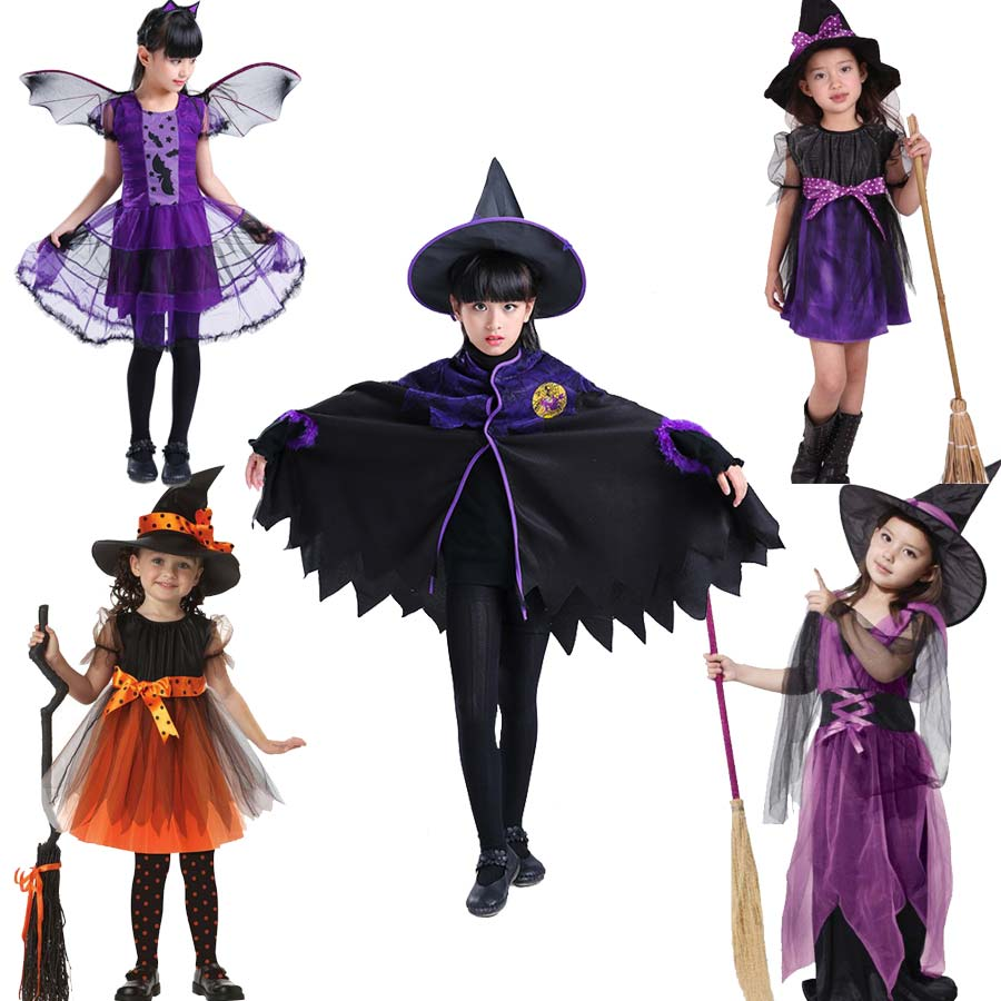 2-12Y Girls Witch Costume Cosplay Kids Halloween Costume Baby Girls Children Halloween Witch Dress Party Teenage Kid Clothes