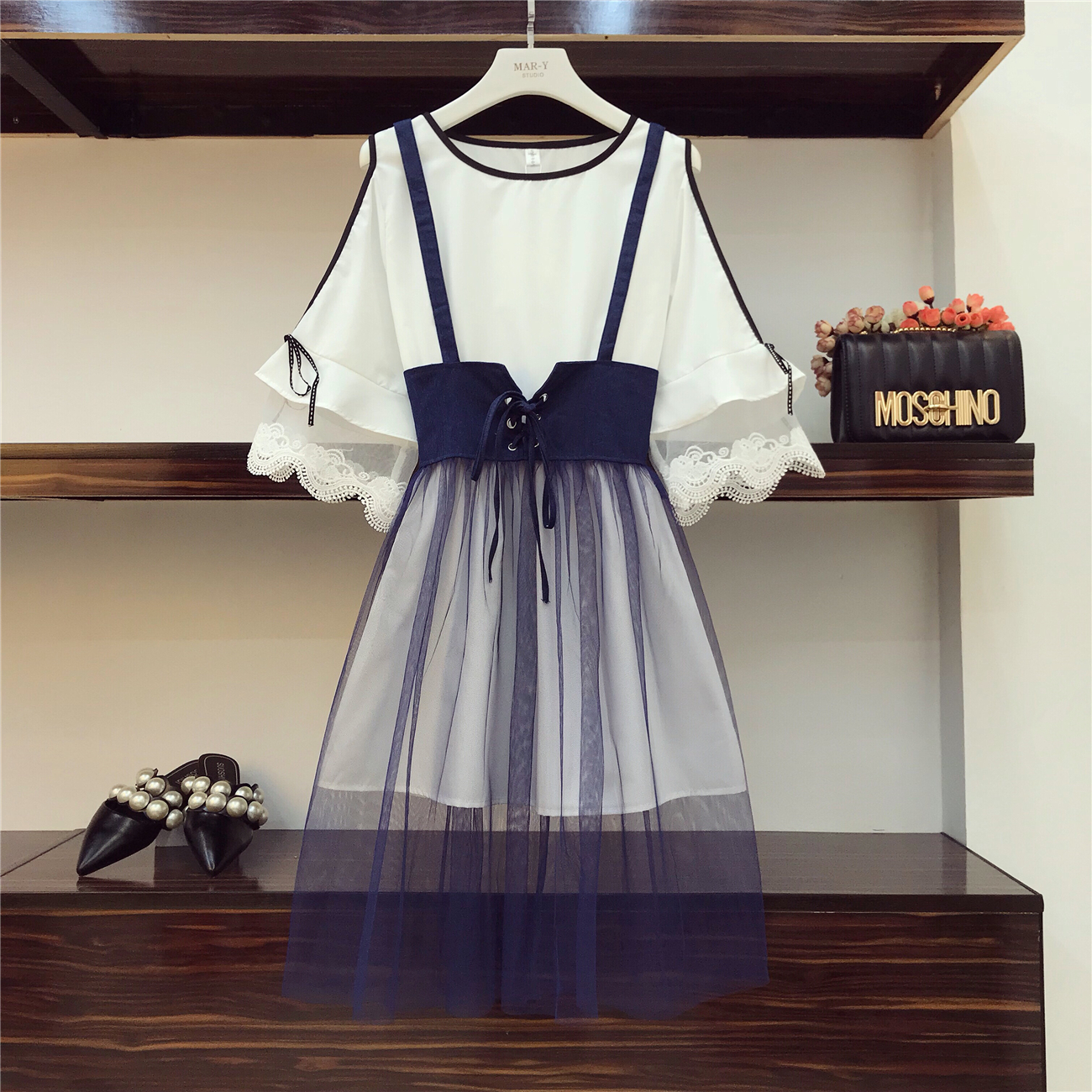 2018 Summer Women Fashion Horn Sleeve Slim Waist Shirt Dress + Denim Stitching Mesh Suspender Skirt Girl Students 2 Piece Sets