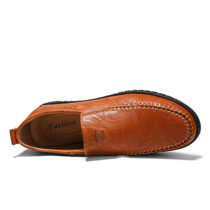 Hommes En Cuir Slip Black Automne Homme Confortable light brown Mocassins De Chaussures Plates Brown Hombre On Zapato Casual dqEq6wrI