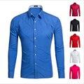 Slim Fit Homens Camisa Clássica Camisa de cor Sólida Casuais Britânico Elegante Casamento Manga Longa Camisa Masculina Camisas de Vestido Tops