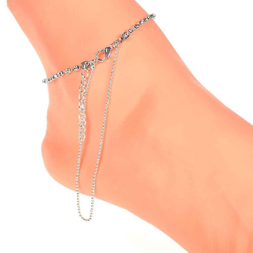 โลหะผสมโบฮีเมียหลายชั้นเงินลูกปัด sequins สร้อยข้อมือผู้หญิงเครื่องประดับเท้า anklets อุปกรณ์เสริมของขวัญ