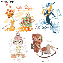 ZOTOONE Girl Life Style Diy Patch for Clothes Iron-on Transfer T-shirt Washable Sticker Applique on Clothing Heat Kids Craft