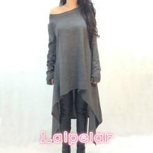 Fashion Ladies Woman T-Shirt Long Sleeve Irregular Hems T shirt Casual O-Neck Shirt Plus Size Brand Laipelar