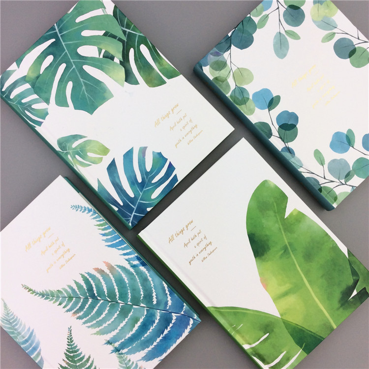 Green Leaves Hard Cover Any Year Study Diary Journal Beautiful Notebook Notepad Memo Grid Blank Lined Papers