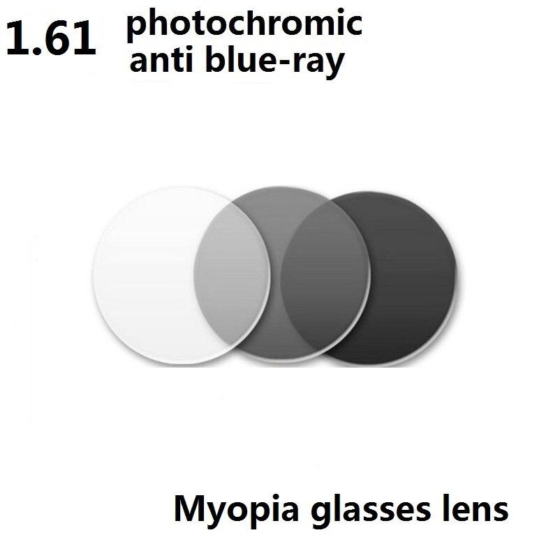 1 61 aspheric anti blue ray goggles photochromic Gray myopia eyeglasses lenses sunglasses resin lenses for