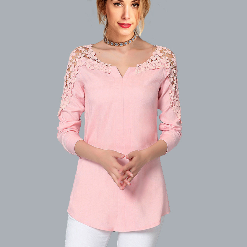 IOLPR autumn and winter fashion Casual V neck Blouse lace Patchwork long sleeved off shoulder chiffon shirt top white pink blue in Blouses amp Shirts from Women 39 s Clothing