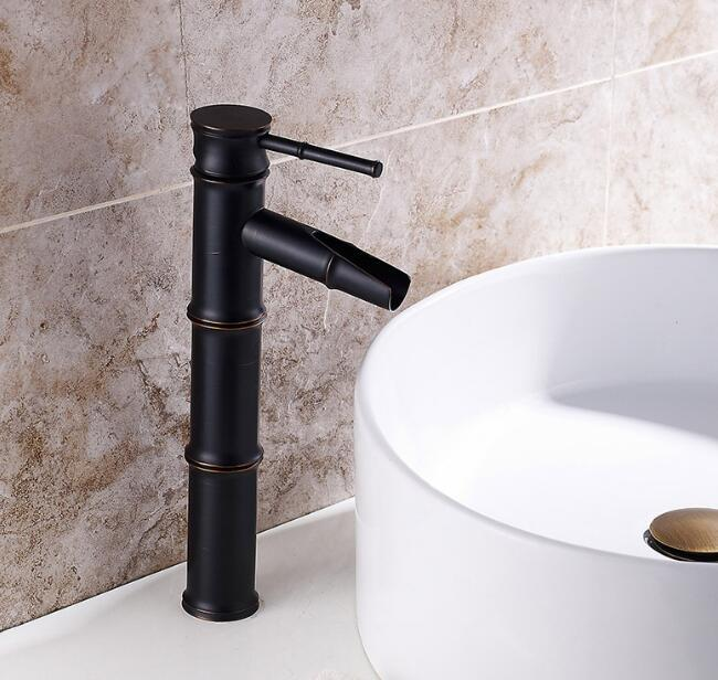 Top quality Single Hole black Antique Brass Basin Faucet Bamboo Shape Design Tall Spout Bathroom Mixer hot and cold Taps high top quality c shape brass metal