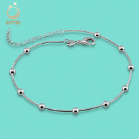Giyoo 925 Sterling Silver Female Anklet Transport Bead Ornaments A Birthday Gift