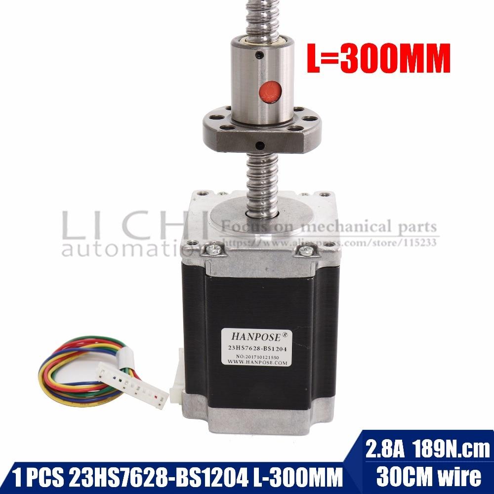 1 pcs, 2 phase, 4-Conduit 76mm CNC Nema 23 Moteur pas à pas, 23hs7628-bs1204 vis à billes longueur 300mm pour 3D Imprimante