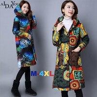 Beautiful print Winter Women coat jacket long warm cotton bohemian style Parkas female Wadded plus size 4xl overcoat ouc1782