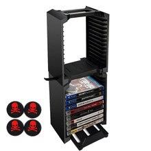 Многофункциональный Двойной Ультра-Большой Емкости Хранения Стенд с Игрой Диск Хранения Башня для Xbox One S Тонкий PS4 P4/Slim/Pro