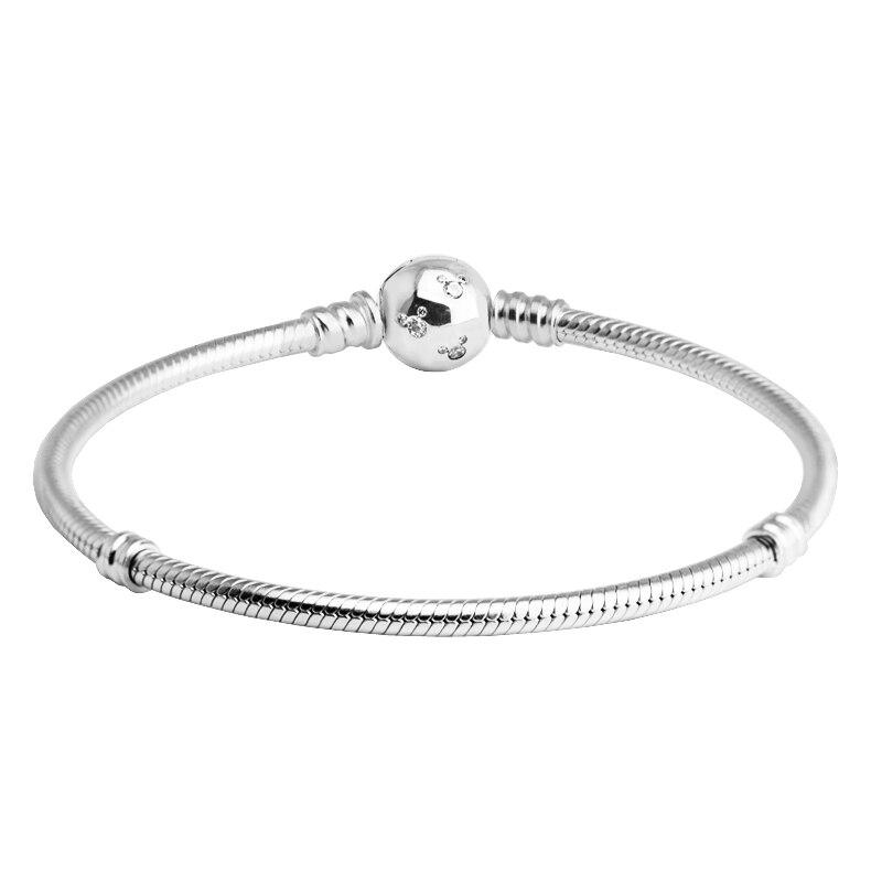 Fandole 925 Sterling-argent-bijoux bande dessinée souris Bracelet avec CZ argent clair bracelets pour femme bricolage perles fabrication de bijoux 021