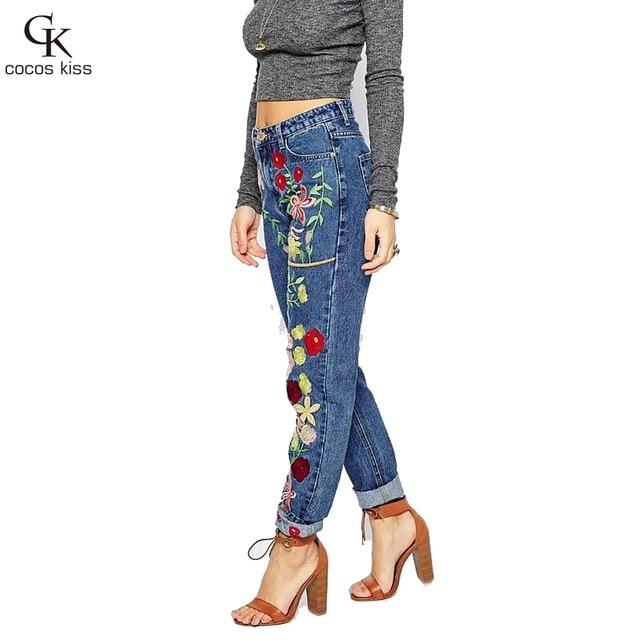 2016 Новый Стиль Моды Женщин И Соединенные Штаты И Европа Стиль Вышивка Джинсы Брюки