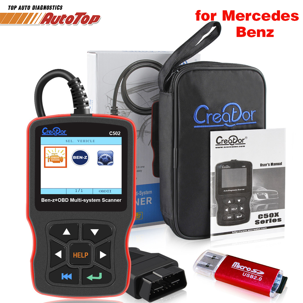 Creator C502 OBD2 Diagnostic Scanner Cars Diagnostic Tools for Mercedes Benz W211 W203 W124 Auto OBD 2 Autoscanner Code Reader auto scanner code reader diagnostic tool for mercedes benz s