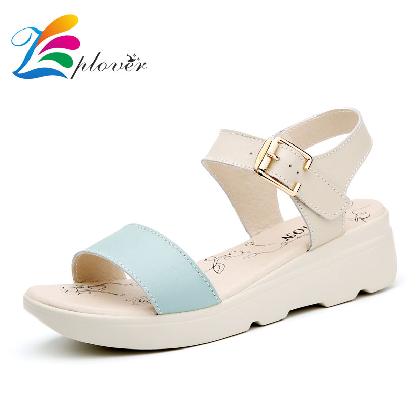 Zplover 2017 New Women Sandals Summer Leather Brand Casual Shoes Korean Fashion Buckle Strap Comfortable Flats