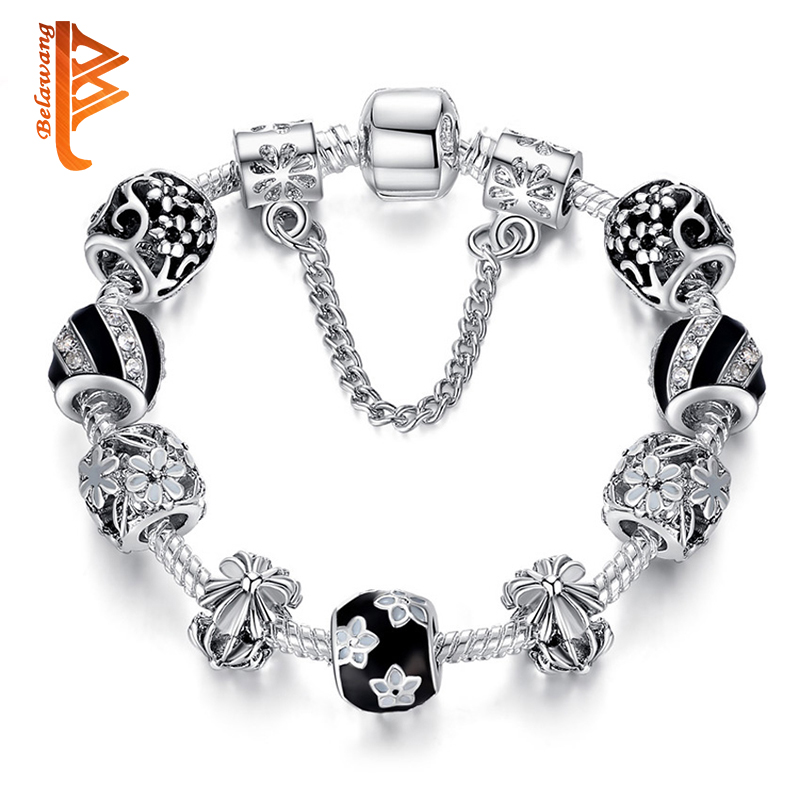 European Style Vintage Silver Bracelet Crystal & Murano Glass Beads Charm Bracelets for Women Wedding Fashion Jewelry Gift