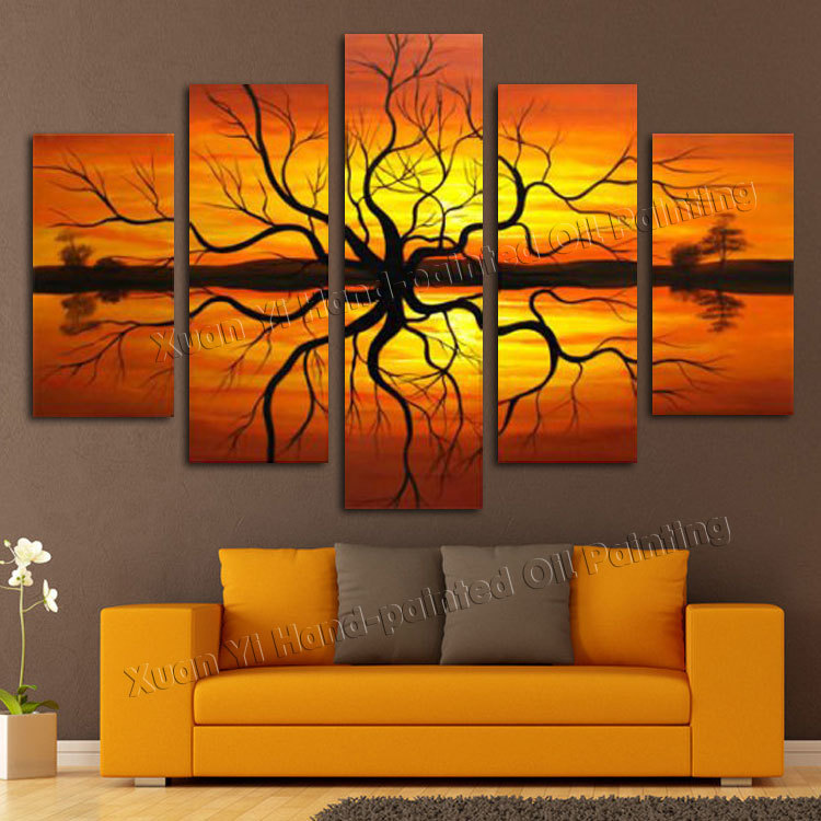 living room decoration pictures set us set 5 pieces handmade wall art modern abstract scenery sunset tree lake picture oil painting on canvas
