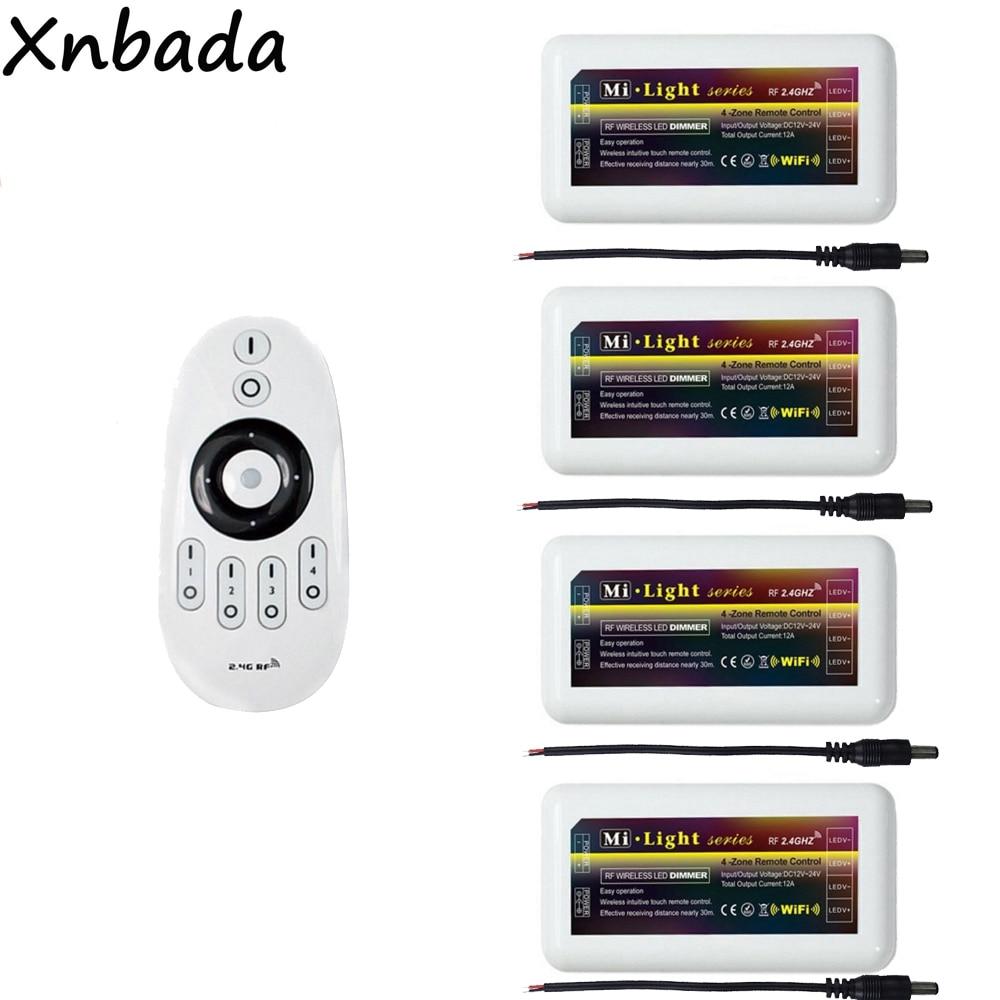 Milight FUT007 Remote Led Controller 2.4G 4-Zone Dimmer Controller For 2835 3014 5050 5730 Single Color Led Strip DC12-24V