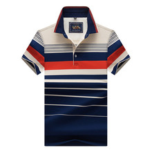 Polo Shirt Men Lapel Striped Polos Shirts Camisa Masculino Short Sleeve Homme Fashion Business Male Tops Plus Size