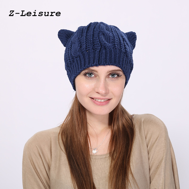 Women Devil Horns Cat Ear Cute Crochet Knit Beanie Ski Wool Warm Cap Hat KC118 футболка toy machine devil cat black