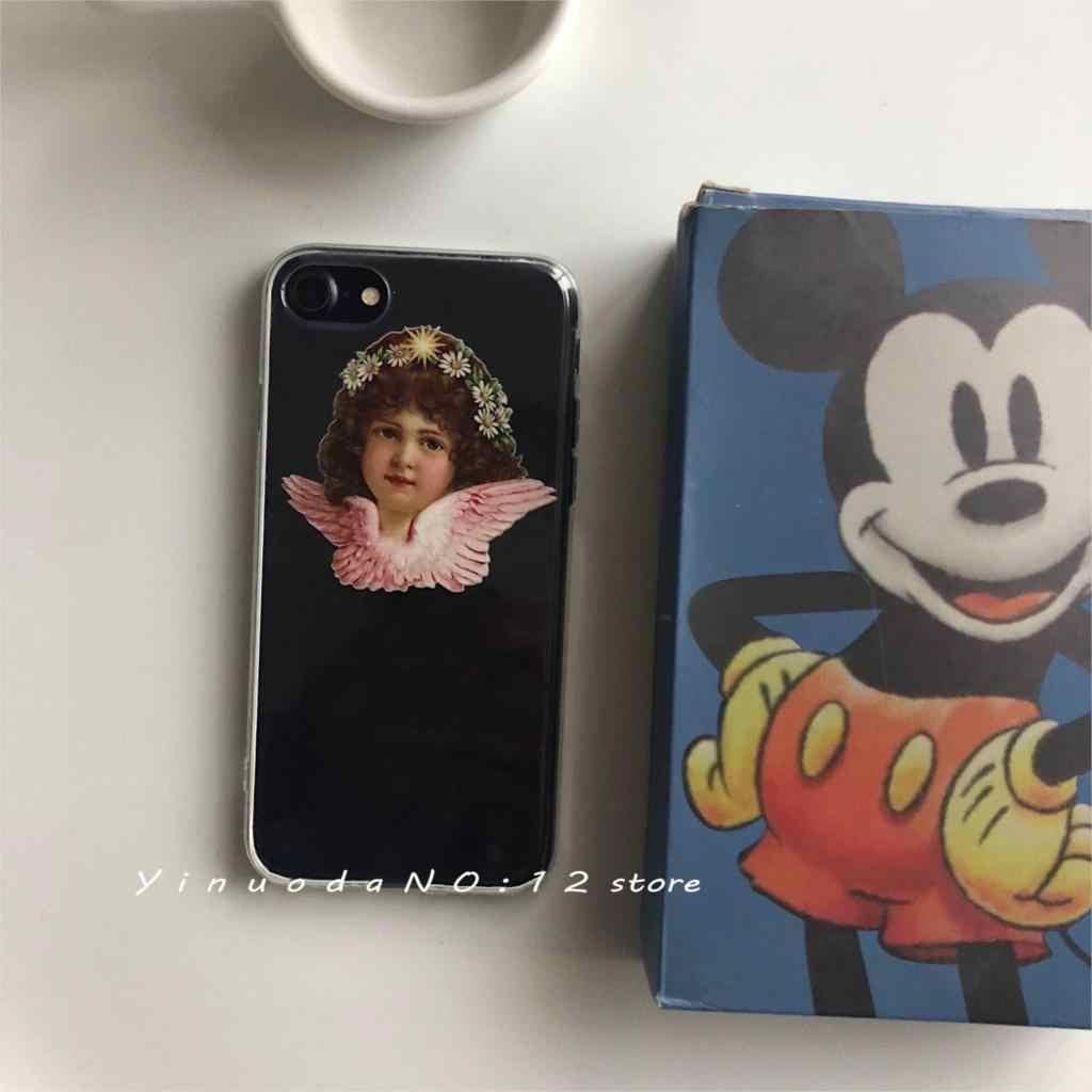 "Yinuoda Ultra HD transparante holle Vintage olieverfschilderij stijl cute little angel ""God bless u"" phone case voor iphone X XS 7 8"